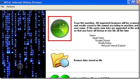 MiTeC Internet History Browser avvio scansione cronologie web