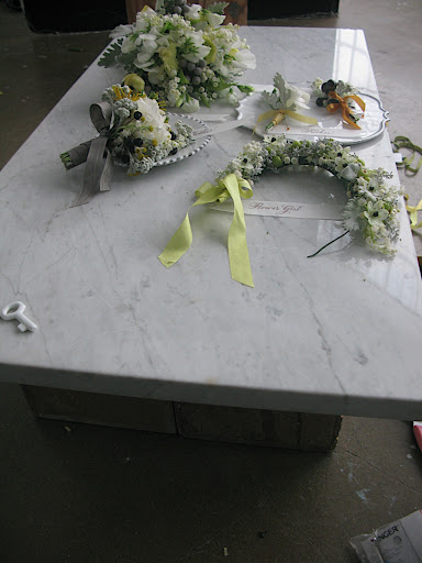 Here, the marble surface on which we shot all of the little personal items.