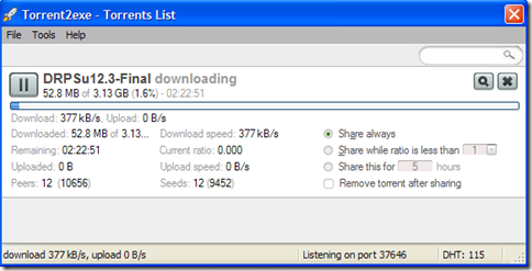 Torrent2exe download manager