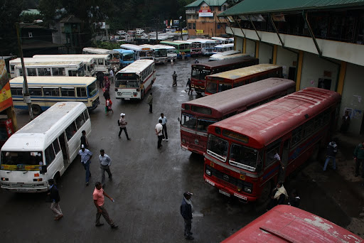 A very typical (chaotic) bus station in Sri Lanka