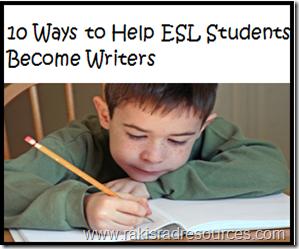 TESOL Teaching Tip #40 - Kick start writing for esl and ell students. These students need to write as much as possible as often as possible in a guided fashion. For help kick starting writing with your language learning students, check out this blog post at Raki's Rad Resources.