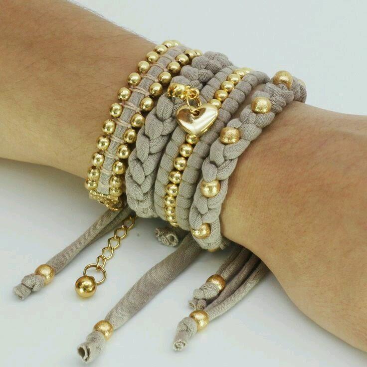 Mi ba l de inspiraciones pulseras y collares de trapillo - Manualidades hechas con trapillo ...