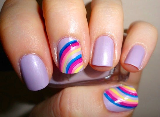 Double Rainbows Nail Art 1