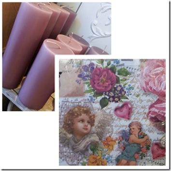 Servietter og lys dyp gml rosa