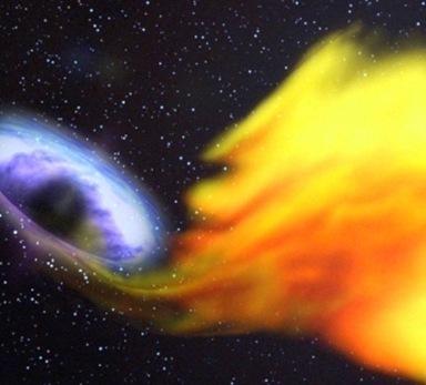 ilustração do buraco negro devorando uma estrela
