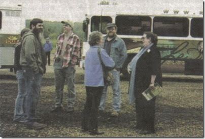 State Senator Betsy Johnson meets with volunteers before boarding the Lewis & Clark Explorer Train in Clatskanie, Oregon on May 21, 2005