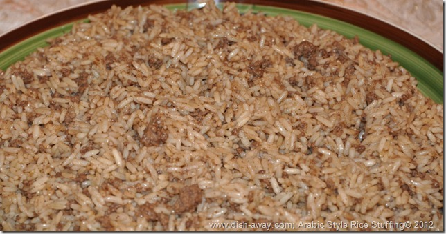 Arabic Style Rice Stuffing Recipe by www.dish-away.com