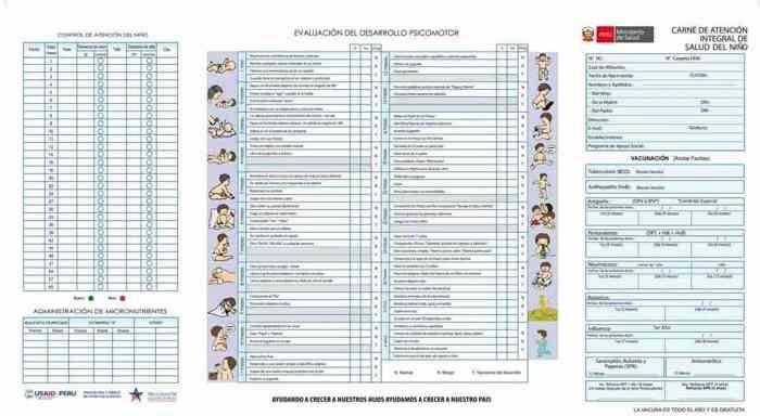 carnet de vacunacion de niños