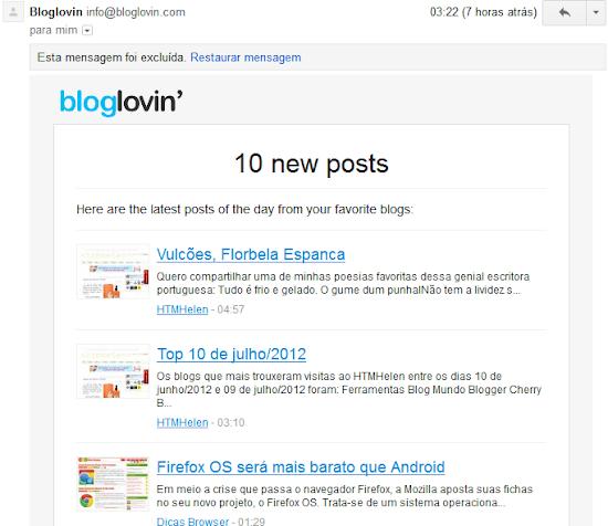 Exemplo de newsletter do Bloglovin