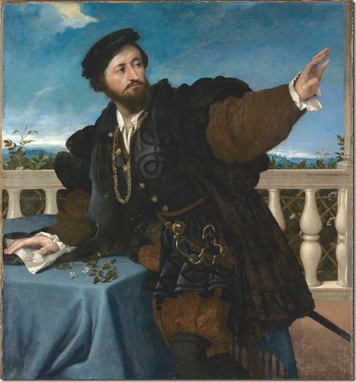 Lotto, Portrait d'homme sur la terrasse