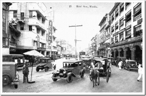 1930s Rizal Avenue corner Carriedo Street. On the left is the Ideal Theater which was around until the early 1980s, it actually stayed a movie house until it was demolished.
