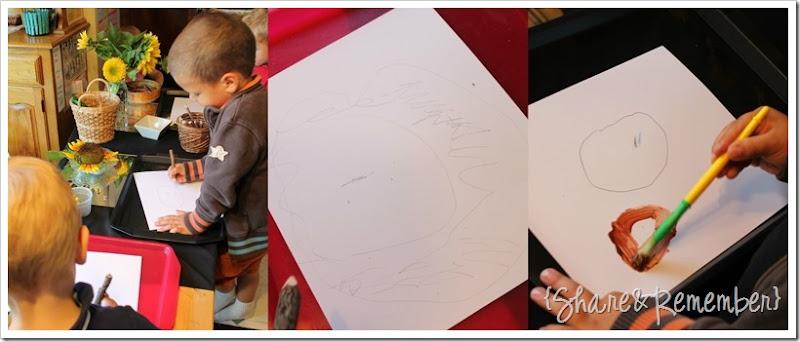 Drawing & painting Sunflowers Preschool Art