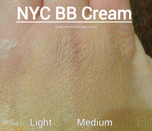 N.Y.C. (New York Color) Smooth Skin 5 in 1 BB Cream Beauty Balm Swatches of Shades; Light, Medium