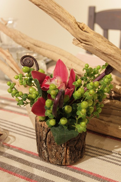 Hello Darling - Organic   Vintage Sports Bar Mitzvah, bark wrapped florals