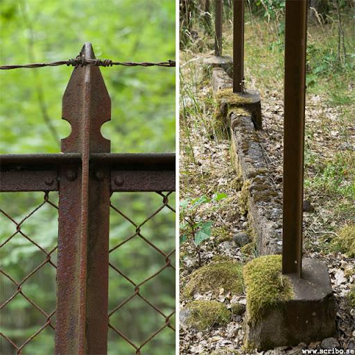 Det gamla staketet med taggtråd i toppen och och ordentligt juten betongfot på sina ställen.