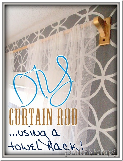 DIY Curtain Rod {Using a Towel Rack!} $3