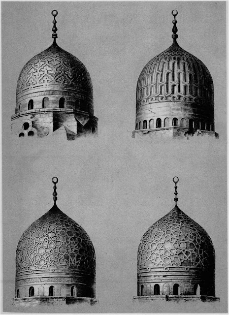 Domes: Although Prisse attributes stylistic significance to domes, he treats them randomly and not as reflective of transfers and adaptations of building technology. These four designs, though essentially linear, embody dense, fleshy arabesques typical of later Mamluke domes.