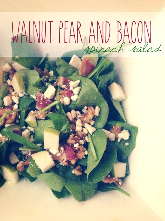 Walnut Pear Bacon Spinach Salad