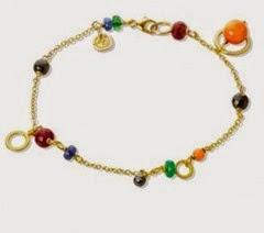 Marianne Dulong - PICCOLO armbånd - 18 kt guld - koral, spinel, safir, rubin, smaraged, sort diamant  - DKK 9.800,00