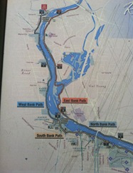 our route this morning, 2 miles on the West Bank Path and then two miles back on the East Bank Path