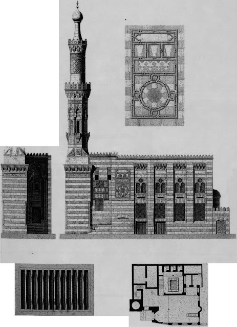 Mosque of Shaykh al-Burdayni, elevation, details, & plan, 17th century.