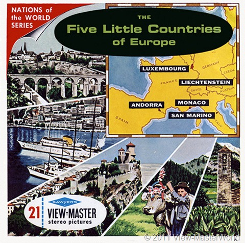 View-Master The Five Little Countries of Europe (B149), Packet Cover