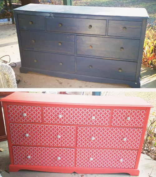 Before and After dresser makeover by Angie Away