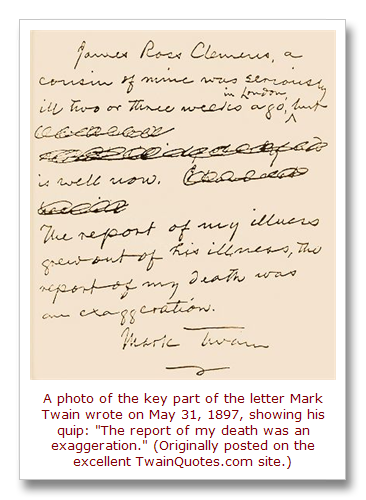 This Day in Quotes: Reports of Mark Twain\'s quip about his death are ...