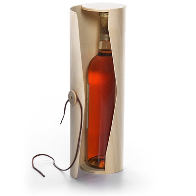 This is a beautiful Birch Veneer Wine Bottle Cylinder from The Container Store -- it's perfect to send home with guests but it could also be a fabulous way to bring wine to an event.