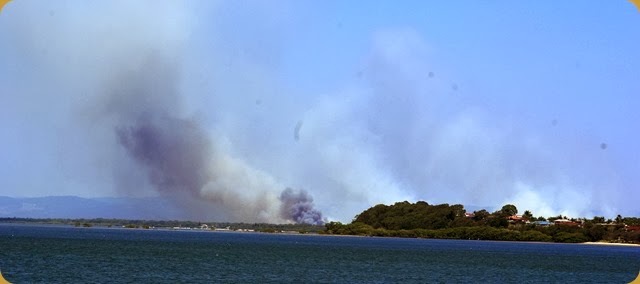 Bushfires flared up again Saturday morning at Ningi across from Bribie Island Nov 2013