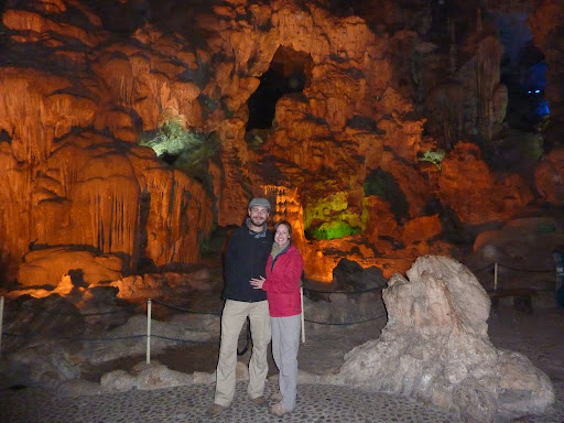 Lynette and I in front of the beautiful limestone caves of Thien Cung caves.