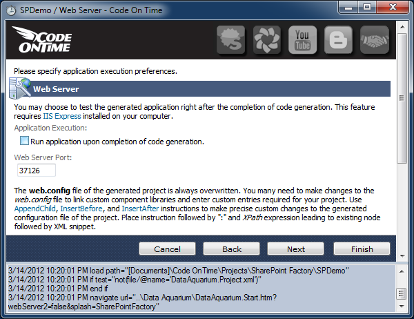 Disabling automatic launching of the application upon completion of code generation in Code On Time web application generator