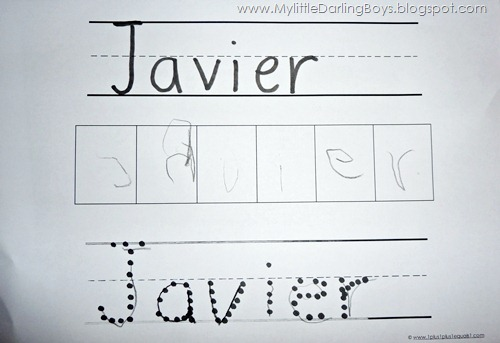 My 2 Little Darlings Jayden & Javier: I can write my name!