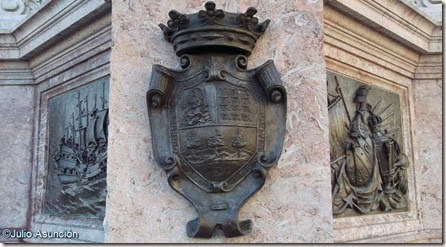 Monumento al almirante Oquendo - Escudos y relieves de batallas
