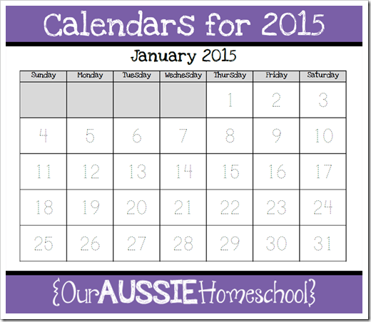 Calendars for 2015 | Our Aussie Homeschool
