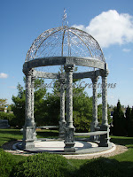 Gazebo with Grapevine Columns, Verde Oliva & Stainless Steel