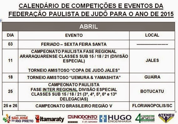 Ano 2015 - Calendario Evento de Judo - Abril