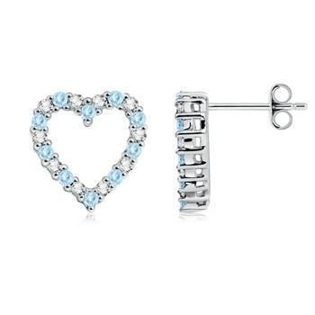 Round Aquamarine and Diamond Heart Earrings at Angara.com