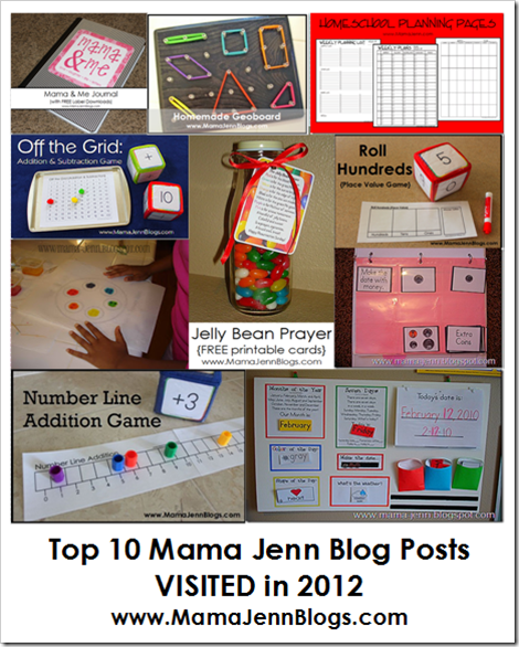Top 10 Mama Jenn Blog Posts VISITED in 2012
