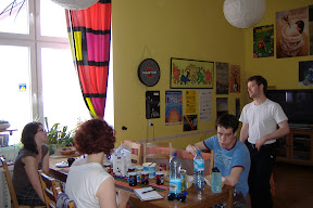 In the Wroclaw hostel.  Enjoying breakfast.
