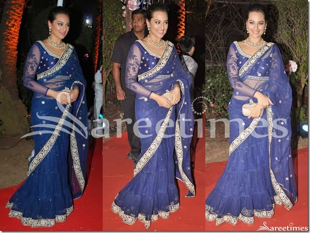 Sonakshi_sinha_blue_Net_Saree