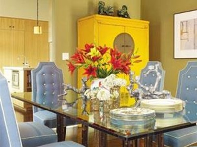 yellow Chinese armoire in dining room