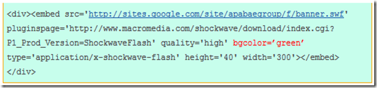 Contoh snippet kode flash website