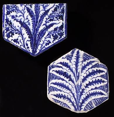Tile | Origin: Egypt or Syria | Period:  early 15th century | Collection: Shinji Shumeikai Acquisition Fund (M.2001.85.2) | Type: Ceramic; Architectural element, Fritware, underglaze painted, 7 1/8 x 6 3/4 x 3/8 in. (18.1 x 17.15 x .95 cm)