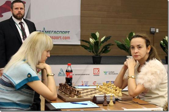 Anna Ushenina vs Antoaneta Stefanova, Round 6, Finals Women's World Chess Championship 2012, Khanty-Mansiysk Russia