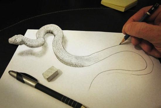 snake anamorphic drawing
