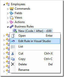 Editing the rule in Visual Studio.