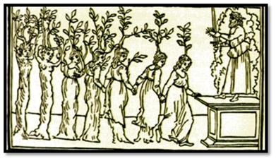 Siete virgenes ninfas que se convierten en árboles. Xilografia de 1499