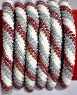 rollover bracelet red white grey