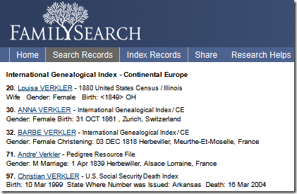 Class FamilySearch listed search results in sentence format